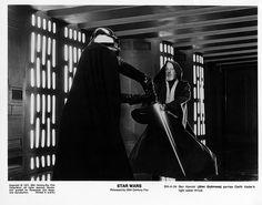 Darth Vader and Obi-Wan Kenobi star wars poster prints Vader Star Wars, Darth Vader, Anakin Vs Obi Wan, Alec Guinness, Star Wars Episode Iv, Black And White Stars, Star Wars Pictures, Star Wars Poster, A New Hope