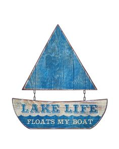 "Waterside Collection ""Lake Life Floats My Boat"" Two Piece Metal Sailboat Wall Decor - L x H"