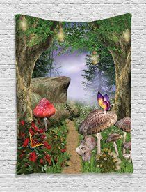 Forest Wall Tapestry Mushroom Decor by Ambesonne, Nature Pathway Butterflies Fairytale Landscape Rocks Street Design, Bedroom Living Room Dorm Wall Hanging, 40W x 60L Inches, Beige Green Red Lilac