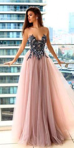 07319edc5e strapless long prom dress,sexy evening dress with tulle  2018 promdress2018 graduationdress