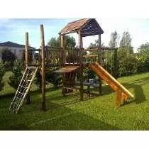 mangrullos infantiles de madera tobogan hamacas puente