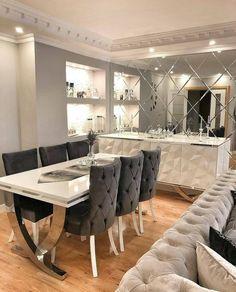 Dining Room Table Decor, Elegant Dining Room, Dining Table Design, Dining Room Furniture, Living Room Decor, Classy Living Room, Living Room Mirrors, Dining Room Inspiration, Küchen Design