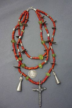 Antique Silver Cross, Guatemalan Coins, Vaseline-White Heart Trade Bead Chachal Necklace from Guatemala