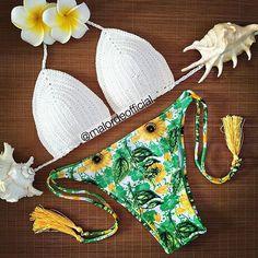 21911c94334c7 New Arrival Crochet Bikini Sets Women Pure Handmade Top Sexy Halter Swimwear  Floral Print Biquini Low Waist Swimsuit – Color: Size: M - BenJuma
