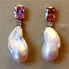 Baroque pearls with pink stones and diamonds
