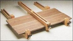 Bar Clamps - Homemade bar clamps constructed from wood, perforated metal strip, threaded rod, and hardware.