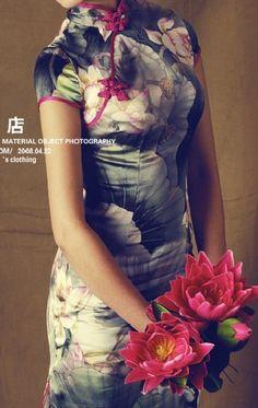 Chinese dress cheong-sam , lotus, 95% silk