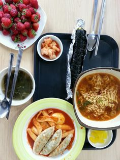 It's korean students' snack for lunch. Ramyoun, dduck-bokki, gim-bab etc.