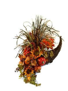 Fall Centerpiece Cornucopia Centerpiece Sunflower by perpetualposy