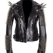 Leather Men Long Spiked Shoulders Leather Black Silver Studded Patches Spike Studs Party Biker Club Jackt Size XS TO 100 % Genuine Cowhide Leather to MM Cowhide Leather Used Spiked Leather Jacket, Studded Jacket, Leather Jacket Patches, Punk Mode, Herren Style, Stylish Jackets, Punk Fashion, Fashion Black, Style Fashion
