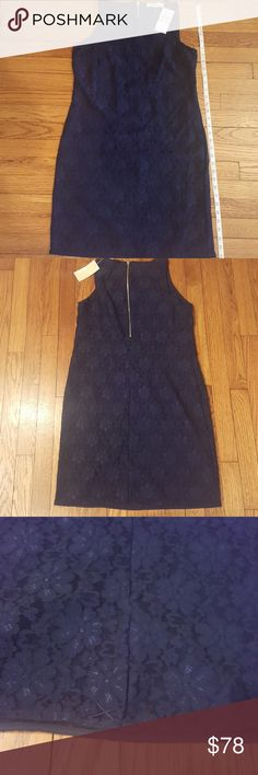Michael Kors Navy Lace Sheath Drwss5 Shoulder/upper chest area is lace, lined, short split in the back of dress. MICHAEL Michael Kors Dresses