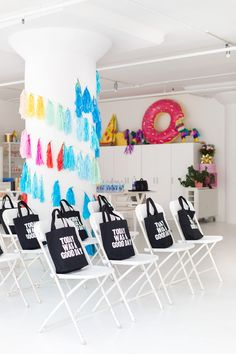 Our totes at the Instagram Workshop, Can't Crop This, at the new Studio DIY HQ.