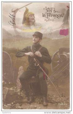 "Carte Postale Ancienne ""Vive la France!"" France 1919."