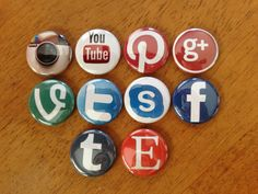 Social Media Set of 10  Buttons Pinback Buttons by MyButtonMonster, $5.00