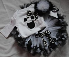 Infant Toddler Girl Petti Tutu Ghost Halloween Costume with Applique Onesie or T shirt and Matching Headband. $50.00, via Etsy.