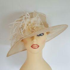 Ladies Wedding Hat Races Mother Bride Ascot Hat Cream Feathers Flower