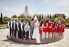 Bridal Party Picture by Dave Neeley California Mormon Wedding Newport Beach Temple.  Bridal Party Pose.
