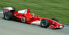 Schumacher at Indianapolis in 2004, where he won the 2004 United States Grand Prix