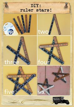 what you need: heavy duty glue dots, 5 rulers, chain to hang star one. gather the glue dots and all the rulers (depending. Ruler Crafts, Craft Stick Crafts, Crafts To Make, Wood Crafts, Fun Crafts, Arts And Crafts, Crafts For Kids, Crate Crafts, Craft Sticks