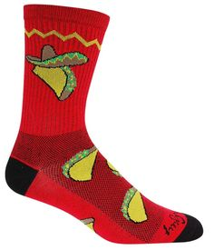Hello, Taco Tuesday!  Lightweight red crew socks with a taco in a sombrero.  Fits men's shoe size 9-13.