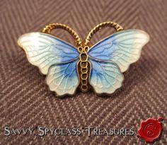 Opro Norway Gilt Sterling Silver Blue Guilloche Enamel Butterfly Pin Brooch | eBay