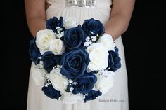 Navy Marine Blue Roses and White roses with babies breath for wedding brides bouquet