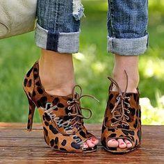 Shoespie Leopard Peep Toe Stiletto Heels
