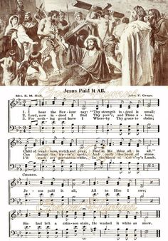 Jesus Paid It All Hymn Note cards or hymn print by GospelHymns