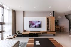 Thinking Design | Toufen101 Tv Console Design, Tv Wall Design, Ceiling Design, Tv Feature Wall, Feature Wall Living Room, Interior Design Living Room, Living Room Designs, Living Room Decor, Living Area