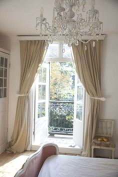 Ideas for french door curtains ideas house tours Balcony Curtains, Balcony Doors, Bedroom Balcony, Long Curtains, French Doors Bedroom, French Door Curtains, Bedroom Doors, Bedroom Curtains, Master Bedroom