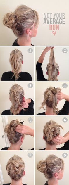 Step 1 Tie your hair up into a ponytail. Step 2 Take a section of hair from the top of your pony tail. Step 3 Plait this section and secure it away from the rest of the ponytail with a butterfly clip (you will use this later). Step 4 & 5 Divide the remaining part of your ponytail into four sections. Loop each