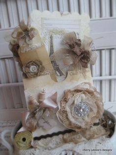 shabby chic French sewing CRAFT WORTHY just for you pocket and set of two LARGE tags/cards and mini envelope and tag gift set decoration
