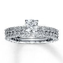 14K White Gold 1 7/8 Carat t.w. Diamond Bridal Set $3699.99
