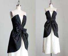 80s Vintage Black And White Strapless Taffeta Party by decades, $220.00
