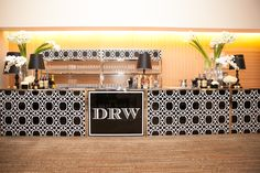Black and white bar - Custom printed bar - Event branding - Raise the Bar - Rent this bar for your wedding or event from Marbella Event Furniture and Decor Rental