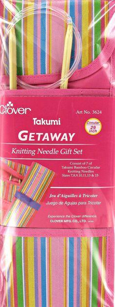 "Gift Set, Circular Knitting Needle Case, Clover Takumi Bamboo Getaway, consist of 7 Takumi Bamboo Circular Needles, 29"" (74cm) sizes 7-15"