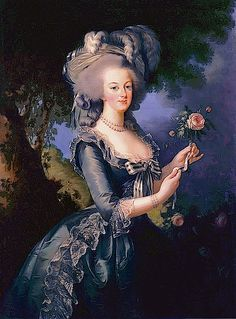 "1783 Marie Antoinette holding a rose by Élisabeth-Louise Vigée-Lebrun (Versailles)  This 1783 Vigée-Le Brun work may be the most well-known portrait of Marie-Antoinette. It was quickly painted in an attempt to calm the controversy caused by the ""muslin portrait."" Vigée-Lebrun painted many copies. Elements of the ""muslin portrait"" are retained - she wears a hat and holds a rose while wearing a bertha with two flounces and a skirt with two flounces."