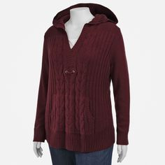 NorthCrest Plus Size Hooded Pullover Sweater