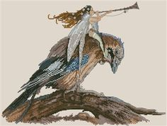Fairy with Trumpet on the Bird by Monge Jean-Baptiste