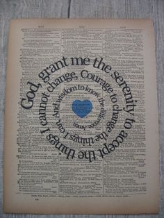 Serenity Prayer, Print, AA , Typography, - Vintage Dictionary, Book Page, Spiral Words Full Serenity Prayer, Serenity Prayer Tattoo, Future Tattoos, New Tattoos, Pair Tattoos, Word Tattoos, Verse Tattoos, Cross Tattoos, Recovery Tattoo