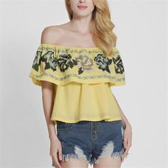 2017 Embroidery Floral Ruffles Strapless Off The Shoulder Loose Crop Tops Women Fashion Clubwear Bustier Tank Camis Female L211