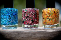 Summer Lovin MELON: Nail Polish Custom blended Glitter Lacquer. $8.50, via Etsy.