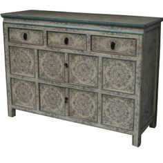 Chinese Antique Tibetan Painted Sideboard Cabinet D Dimension 117 W X