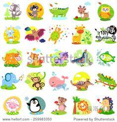 Vector illustration of cute animals and birds: wolf, raccoon, alligator, deer, owl, rabbit, bat, turtle, giraffe, zebra, yak, fox, cow, quail, bird, elephant, monkey, whale, numbat, iguanas, sheep