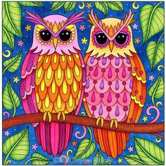 Crested Owls From Thaneeya McArdles Groovy Coloring Book