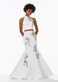 Shop Morilee's Two-Piece Satin Prom Dress with Floral Beaded AppliquŽes and Open Keyhole Back. Prom Dresses by Morilee designed by Madeline Gardner. Halter Neckline on this Two-Piece Satin Prom Dress with Floral Beaded AppliquŽes and Open Keyhole Back. Mori Lee Prom Dresses, Floral Prom Dresses, Prom Dresses 2017, Pageant Dresses, Club Dresses, Satin Dresses, Bridesmaid Dresses, Formal Dresses, Bridesmaids