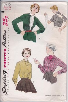50s Miss Blouse Detachable Ruffle Trim Collar Tuxedo Dickey Size 14 Bust 32 Sewing Pattern Simplicity 3715 Complete