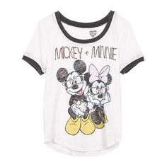 Mickey + Minnie Tee (35 AUD) ❤ liked on Polyvore featuring tops, t-shirts, shirts, blusas, view all graphic tees, white t shirt, graphic design t shirts, graphic shirts, graphic print tees and graphic print t shirts