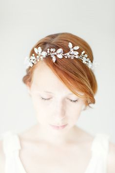 Wedding, Floral Bridal Crown, Headband, Crystal Tiara, Wedding Hair Accessory, ivory, silver- Breathless. $225.00, via Etsy.