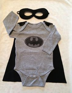 Dark Knight Batman Superhero Baby Bodysuit with Detachable Satin Cape and Reversible Mask, Super Hero Apparel or Costume